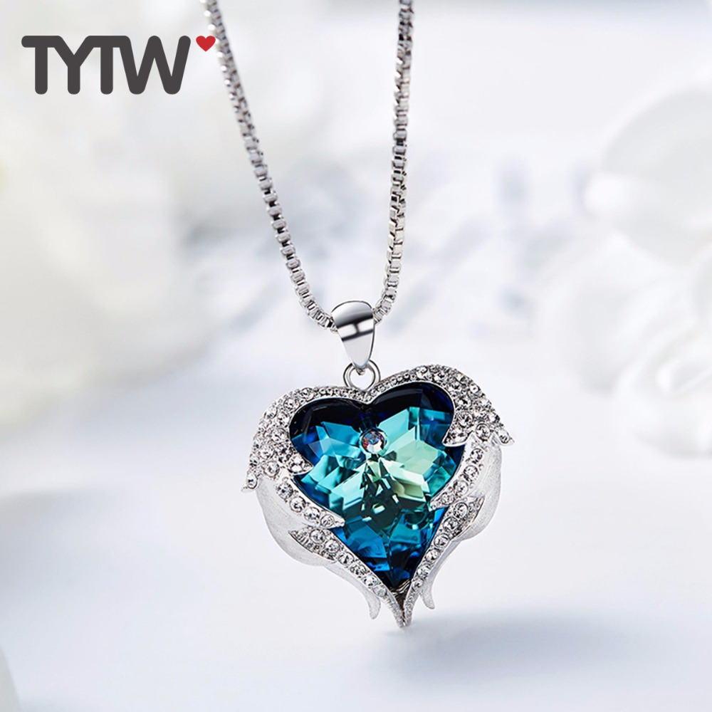 TYTW Crystals From Austrian Necklaces Women Angel Heart Pendant Blue Purple Austrian Rhinestone Chic Fashion Charm Necklace chic rhinestone hollow out leaf pendant necklace for women