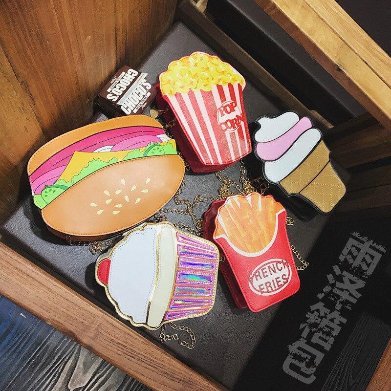 High Quality Personalized Creative Bag Ice Cream Hamburger Handbag Ladies Chain Shoulder Bag Mobile <font><b>Phone</b></font> Bag Cute