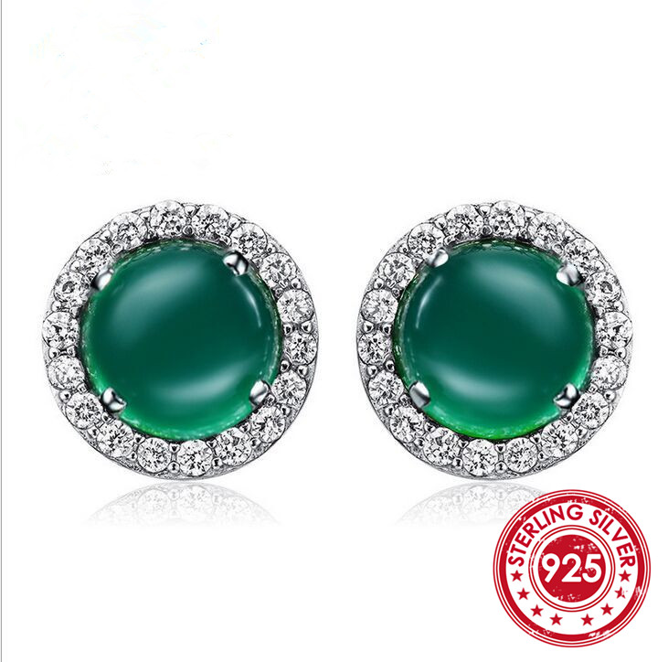 SNH Stud-Earrings Jewelry Agate Green Women for Classical