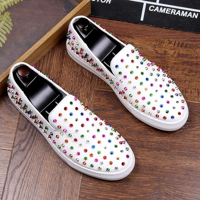 Hombre Studs Spikes Flats Zapatos Red Dress With Loafers Shoes Men White Rivet Luxury Colorful Blue Wedding qEUdwXw8
