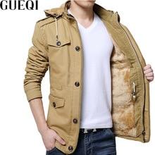 GUEQI ADD Fleece Men Hooded Parkas Plus Size M-4XL Single Breasted Man Winter Warm Casual Long Jackets