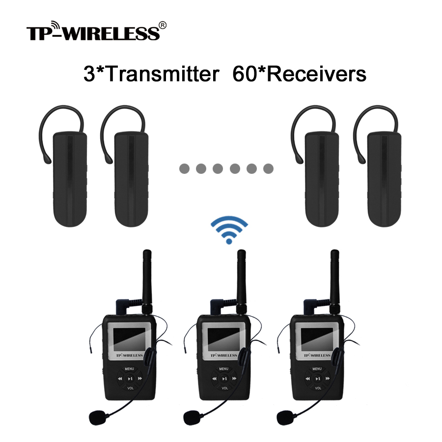 TP-Wireless UHF Digitaal Draadloos vertaalsysteem Mini Oorhaak - Draagbare audio en video