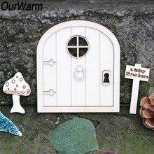 OurWarm, 6 uds., Puerta de jardín de hadas de madera, artesanía de elfo DIY, Favor, señales para jardín de hadas en miniatura, DIY, decoración Vintage para el hogar, regalos de Hobby