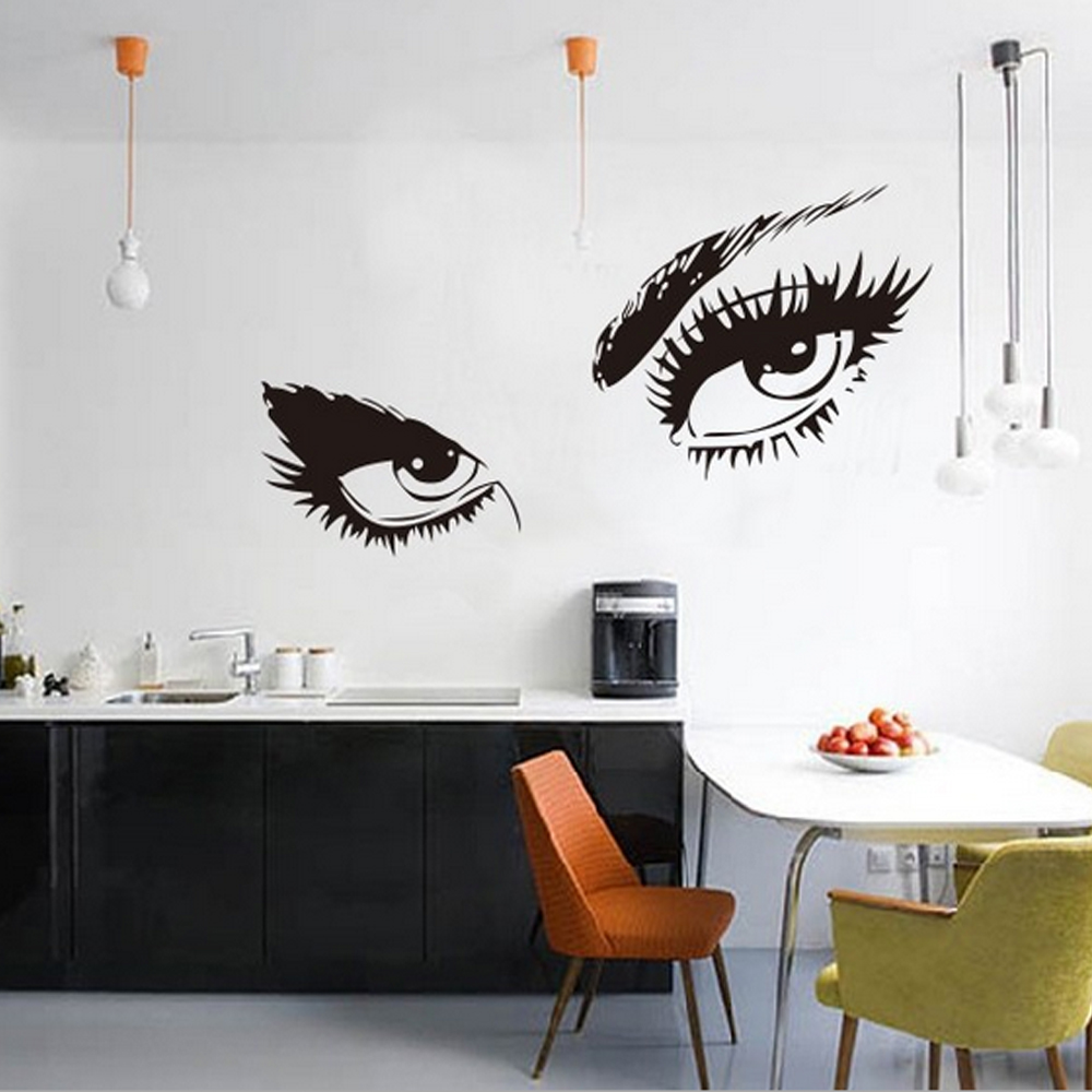Audrey Hepburns Eye Wall Sticker PVC Material Removable Black Color For Home DecorChina