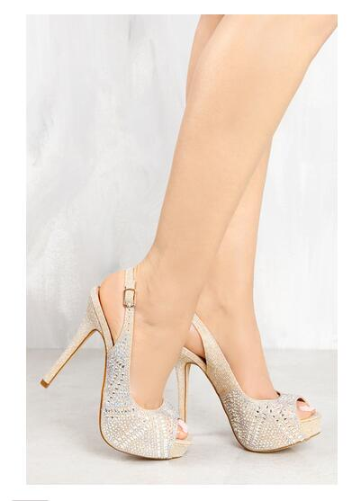ФОТО LTTL Summer women shoes peep toe super high thin heels buckle strap slingbacks crystal design sliver designer platform sandals