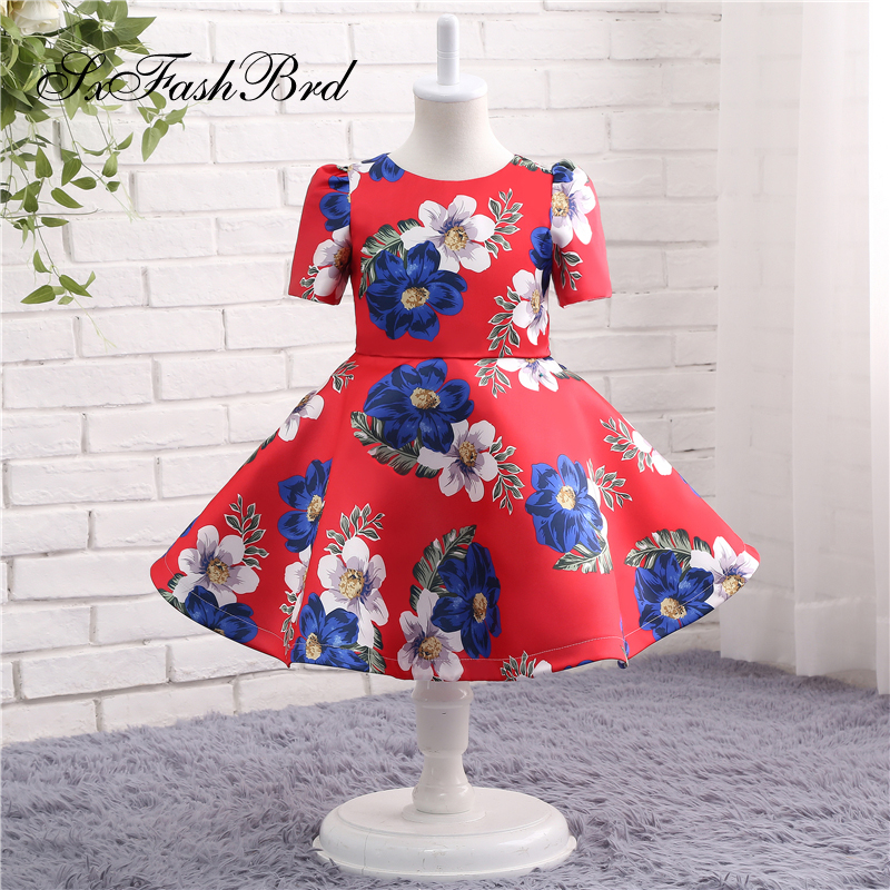 Lovely   Flower     Girl     Dresses   O Neck Short Sleeves A Line Print Satin   Girl   Pageant Party   Dress   Robe Mariage Fille   Dress