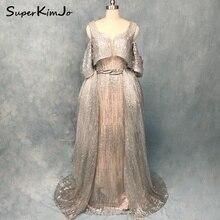 SuperKimJo Detachable Skirt Evening Dresses 2018 Silver Sparkly Sexy Gown Dress Elegant Vestido Longo