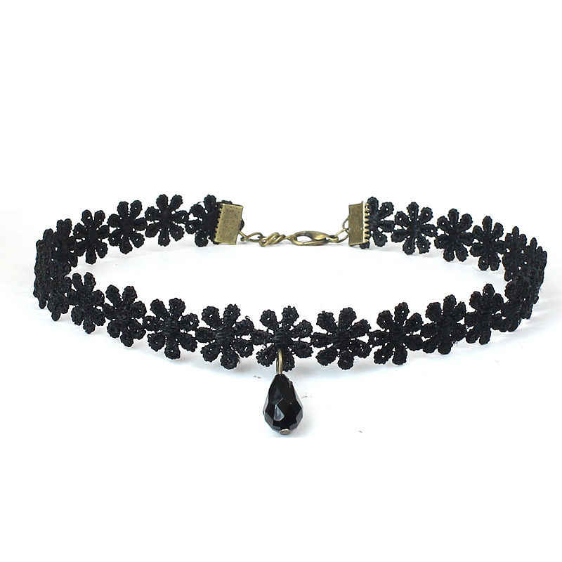 Fashion Elastic Crystal Punk Gothic Girl Black Velvet Lace Chokers Necklace For Women Clavicle Jewelry Valentine's Day Gift