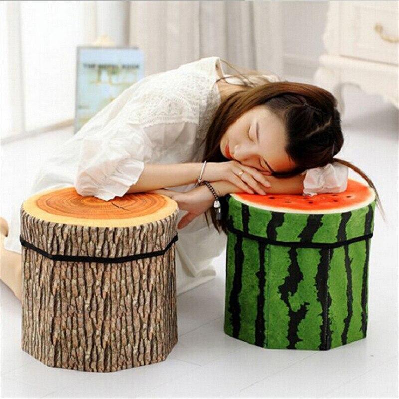 Divers modèles de fruits multifonctionnel pliable tabouret de rangement créatif vêtements organisateur jouet boîte de rangement chaise de rangement