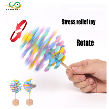 MYHOESWD Office Stress Relief Toys for Adults Kids Wooden Ornaments Crafts Fibonacci Sequence Rotating Toy Creative Decoration