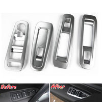 ABS 4PCS Matte Door Window Switch Button Control Panel Cover Trim Frame Deocration For Peugeot 408 2014 Car Styling