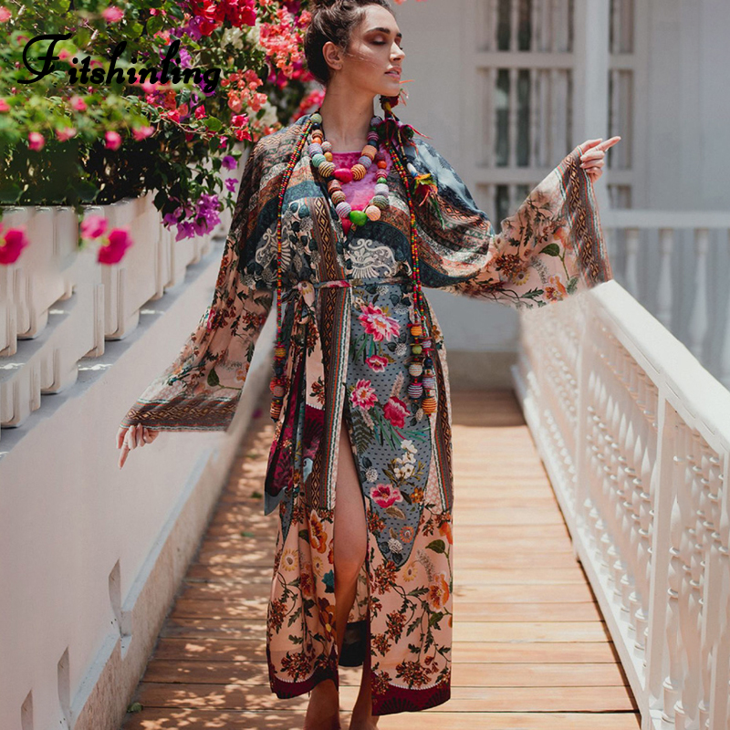 Fitshinling Ethic Print Floral Vintage Kimono Holiday Flare Sleeve Beach Cover Up With Sashes 2019 Slit Sexy Boho Long Cardigan