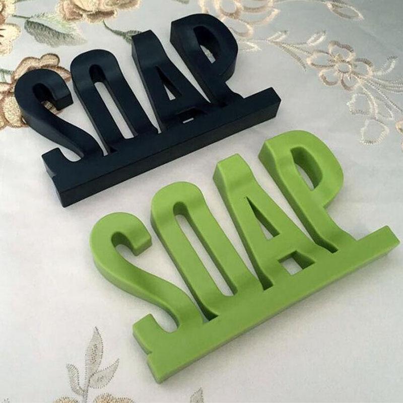 Letter Shape Soap Dish Holder Hollow Design Non Residue