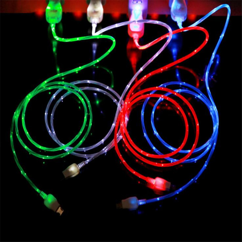 USB Cable Micro USB Cable Flowing LED Glow Charging Data Syn