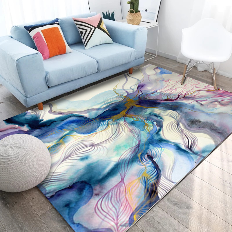 Europe style fashion abstract art colorful ink painting - Gold rug for living room ...