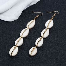 Summer 2019 Long Pendant Bohemian Natural Shell Drop Earrings For Women Fashion Jewelry Female Enthic Dangle Earring Wholesale