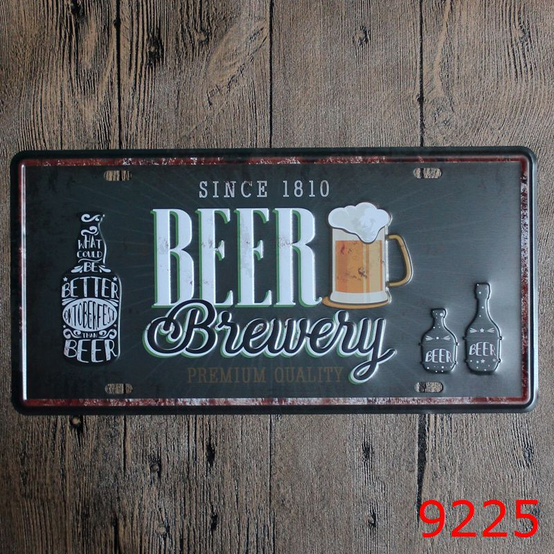 Direct selling LOSICOE Vintage license plate BEER Wall art craft metal painting vintage Iron for bar home decor 15X30 CM