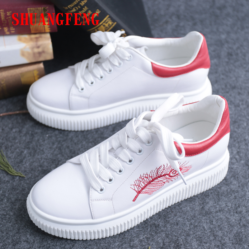 2018 New Spring Summer Lace up White Shoes Women Flat Genuine Leather Shoes Female White Board Shoes Casual Platform Sneakers aiyuqi 2018 new spring genuine leather female comfortable shoes bow commuter casual low heeled mother shoes woeme