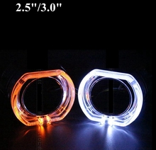 2pcs 2.5 inch or  3.0inch  led day running angel eyes bixenon Projector lens shrouds white color H1 H4 H7 hid xenon kit