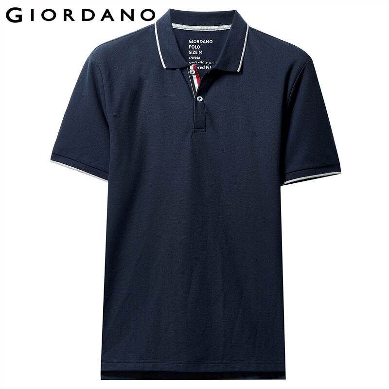 Image 2 - Giordano Men Polo Shirt Men Pique Fabric Slim Fit Short Sleeves Contrast Color Polo Men Shirt Smooth Durable Camisa Polo-in Polo from Men's Clothing