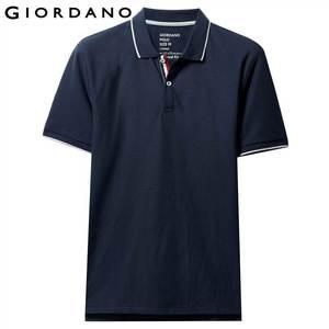 Image 2 - Giordano Men Polo Shirt Men Pique Fabric Slim Fit Short Sleeves Contrast Color Polo Men Shirt Smooth Durable Camisa Polo