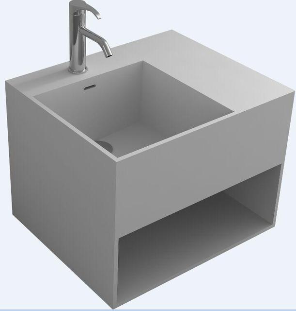 Lavabo Suspendu Rectangulaire Pour Salle De Bain, Surface Solide, Lavabo En  Pierre Avec Cabine