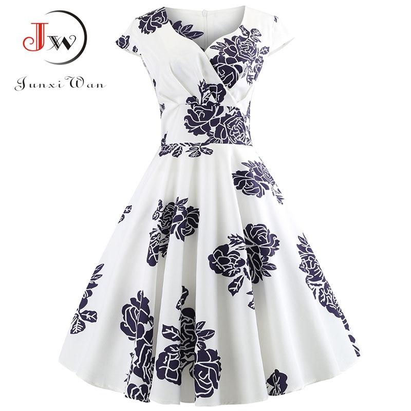 Casual Summer Dress Women  Short Sleeve Hepburn 50s 60s Vintage Elegant Swing Party Dresses Plus Size Floral Slim Vestidos
