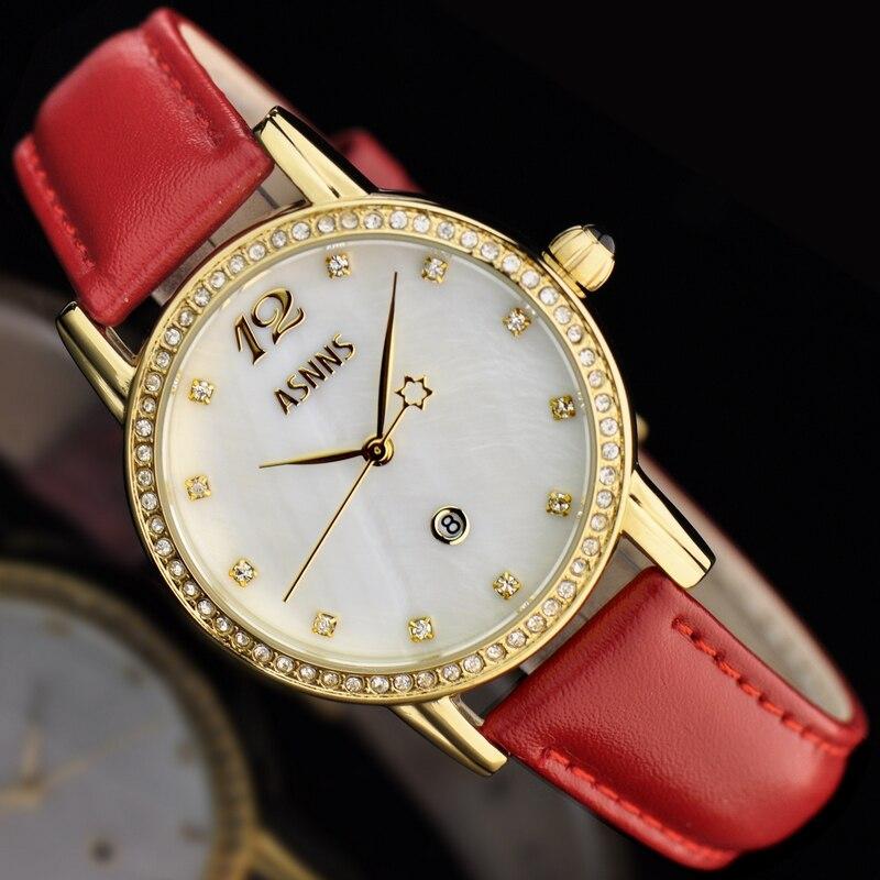 2016 new arrival ASNNS French brand fashion female form diamondquartz watch genuine leather wristwatch