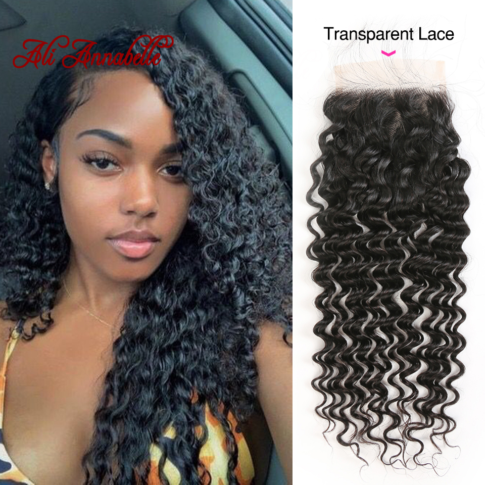4 4 Transparent Lace Closure Deep Wave Brazilian Human Hair Lace Closure with Baby Hair Hairline