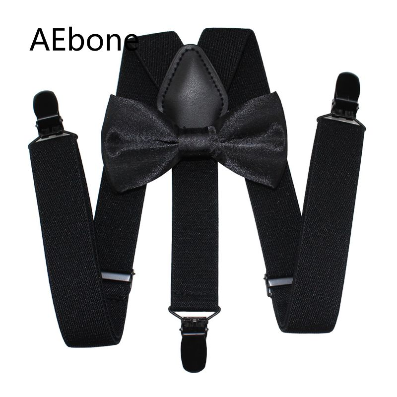 AEbone Tirantes Bebe Baby Suspenders And Bow Tie Boys Suspenders For Pants Children Braces Toddler Suspenders Black Red Sus56