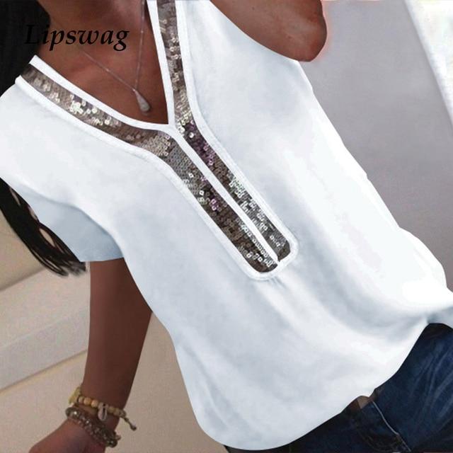 Lipswag Women S-5XL Sequins V-neck Chiffon Blouse Shirt New Summer Short Sleeve Office Lady Blouse Tops Plus Size blusa feminina