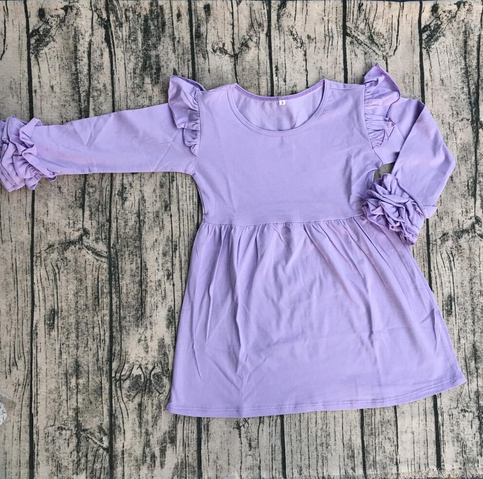 Long Sleeve Baby Tunic Dress Kids Icing Flutter Dress Wholesale