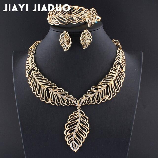 Jiayijiaduo joyería conjuntos para mujeres oro color hoja collar pendientes anillo de pulsera conjunto vestido de boda partido joyería regalo mamá