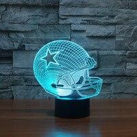3D Light Touch LED Night Light 7 Colors Dallas Cowboys Sleeping LED Light Lampara Acrylic USB NightLight Kids Night Light