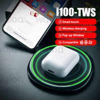 I100 TWS Pop-up 1:1 replika Air2 bezprzewodowego ładowania QI słuchawki Bluetooth PK w1 układu i20 i30 i80 słuchawki TWS dla z systemem Android iOS