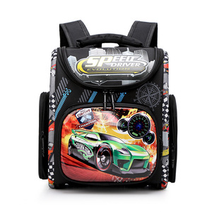Image 1 - Детский рюкзак для начальной школы для мальчиков и девочек, ортопедический ранец с гоночными машинами, школьные портфели с бабочками