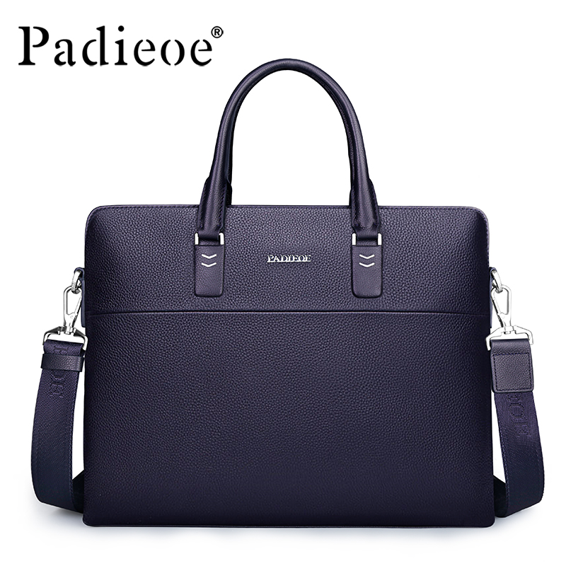 Padieoe Luxury Brand Business Male Briefcase Men's Genuine Leather Travel Handbags High Quality Casual Shoulder Bag For Male