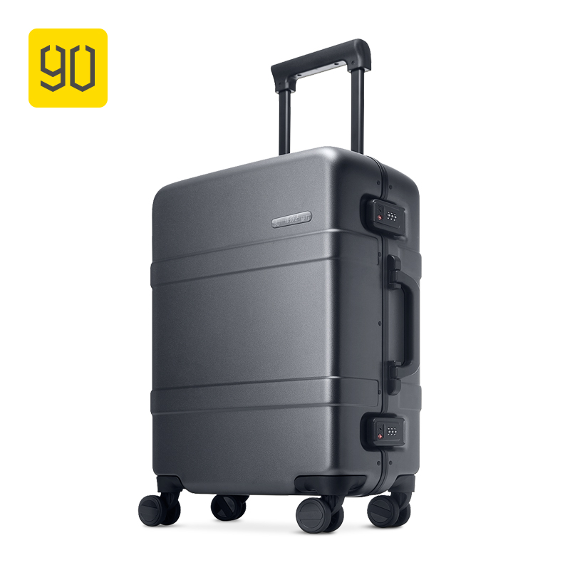 "90FUN Upgraded Aluminum Framed Suitcase PC Spinner Wheel Carry On Hardshell Luggage,20""/24"", Grey/Red"
