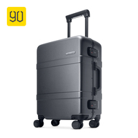90FUN Upgraded Aluminum Framed Suitcase PC Spinner Wheel Carry on Hardshell Luggage,20/24, Grey/Red