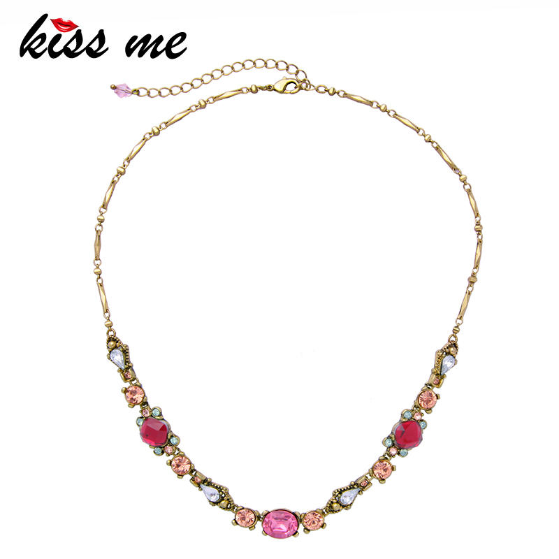 KISS ME Gold & Silver Color Alloy Chain Acrylic Crystal Geometric Necklaces Pendants Charming Women Statement Necklace alloy fringe statement necklace