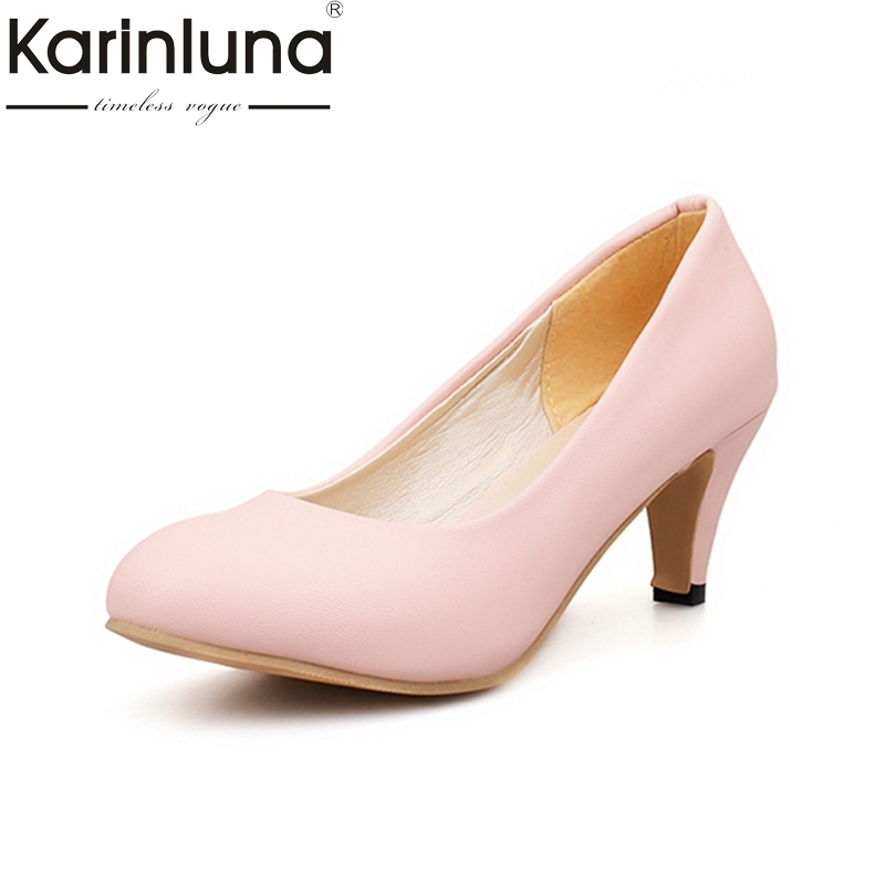 KARINLUNA Big Size 31-47 office lady shoes women med heels slip on elegant round toe dating woman pumps  pink black 2017 shoes women med heels tassel slip on women pumps solid round toe high quality loafers preppy style lady casual shoes 17