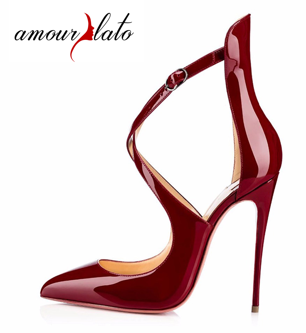 Amourplato Women's Pointed Toe Crisscross Strap High Heel Pumps Stiletto Heels Ankle Straps Dress Shoes Size US 5-13 new arrival 2017 summer pointed toe shoes high heels ankle buckle stiletto sandals elegant simplicity dress heel shoes pumps