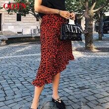 OOTN леопардовая длинная юбка, Женская миди-юбка с высокой талией, Женская Офисная плиссированная юбка с животным принтом, женская летняя красная повседневная юбка