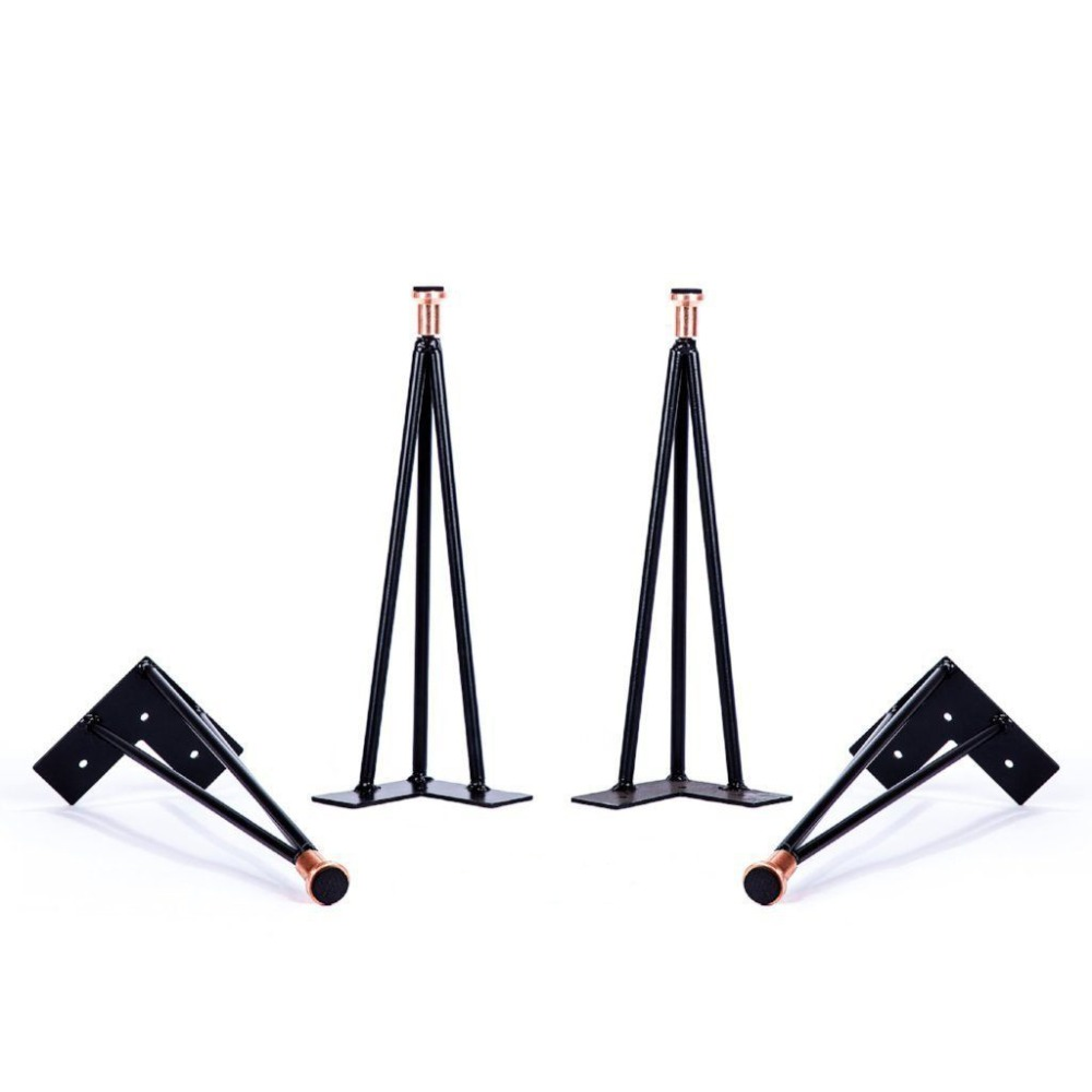 16 metal hairpin table legs, matte black with different color leveler,Chic DIY Coffee Table Legs,3 pin,set of 4 chic solid color arrow triangle hairpin for women