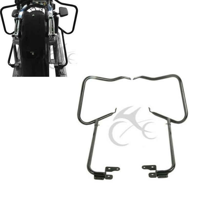 TCT-MT Saddlebag Bag Guard Bracket Side Mount Support Bar Fit For Harley Touring Road King FLT FLHT FLHTCU FLHRC Street Electra Glide Ultra-Classic 1997-2008 Black Rear