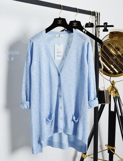 Novas mulheres moda temperamento das mulheres na longa seção de verão de Linho de alta qualidade fina conforto V-gola Grosso casaco de malha
