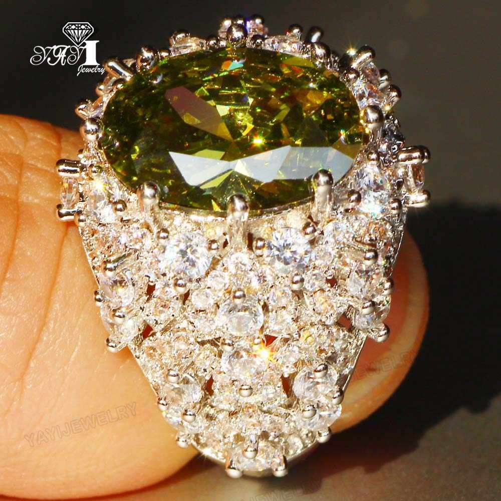 YaYI เครื่องประดับเจ้าหญิงตัด 13 กะรัตสีเขียว Zircon Silver สีแหวนหมั้นแหวนหัวใจสาวปาร์ตี้แหวนของขวัญ 960
