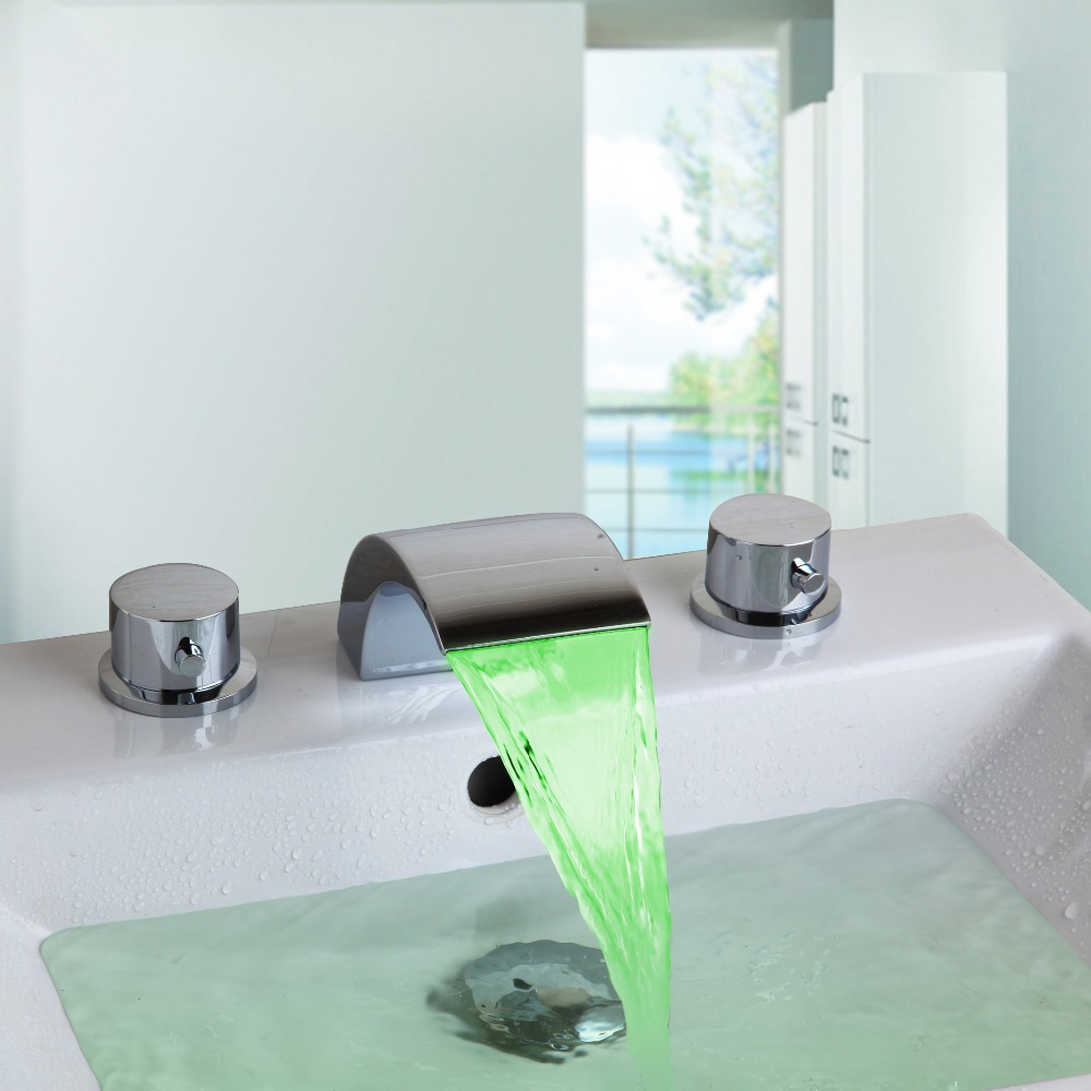 ФОТО  LED Bathroom Faucet Chrome Finish Deck Mounted Basin Sink Faucet Mixer Tap Waterfall Faucet tap bathroom torneira