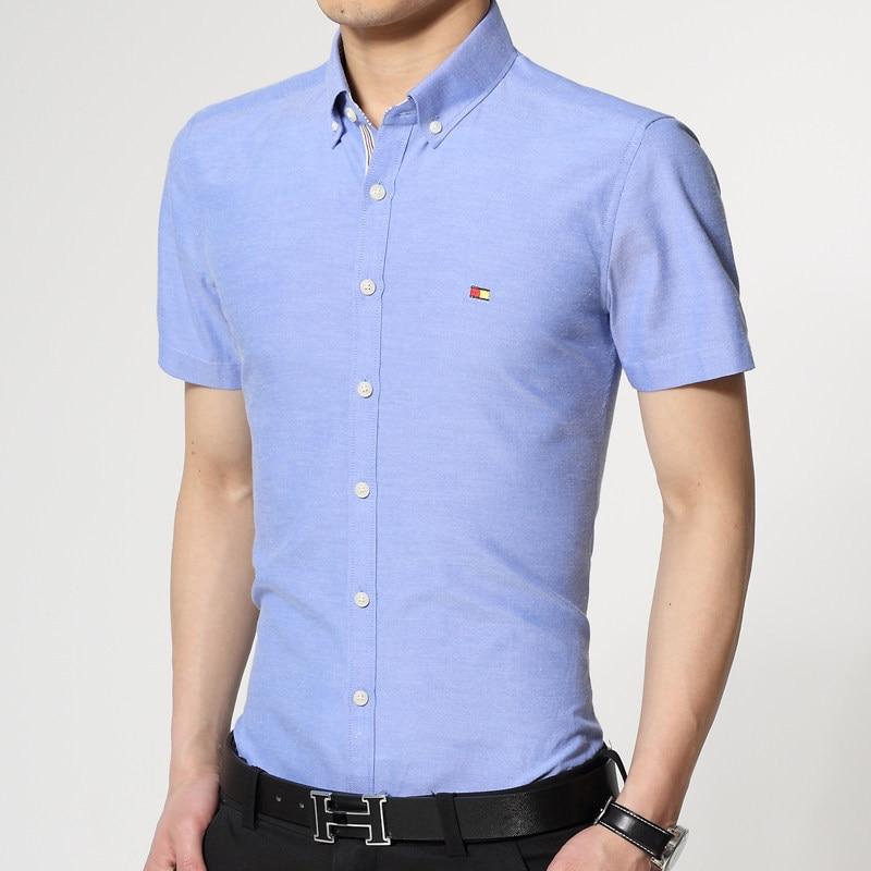 New Men Shirt Sales Hot Short Sleeve Shirts Men S Slim Shirts Brand Business Solid Color