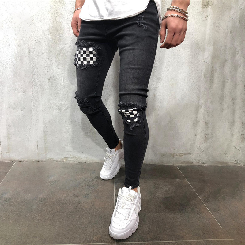 Jeans   for Men Summer Vintage Denim Pencil Pants Casual Stretch Trousers Sexy Skull Hole Ripped Male Zipper   Jeans